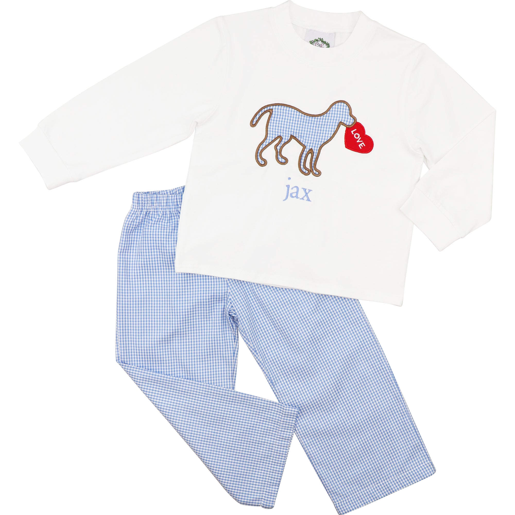 Blue Gingham Applique Dog and Heart Pant Set