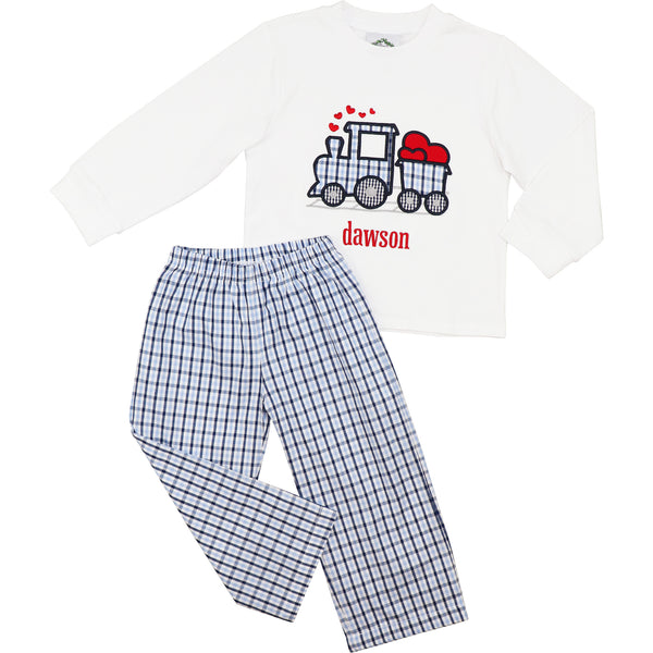 Navy And Blue Plaid Train And Hearts Pant Set