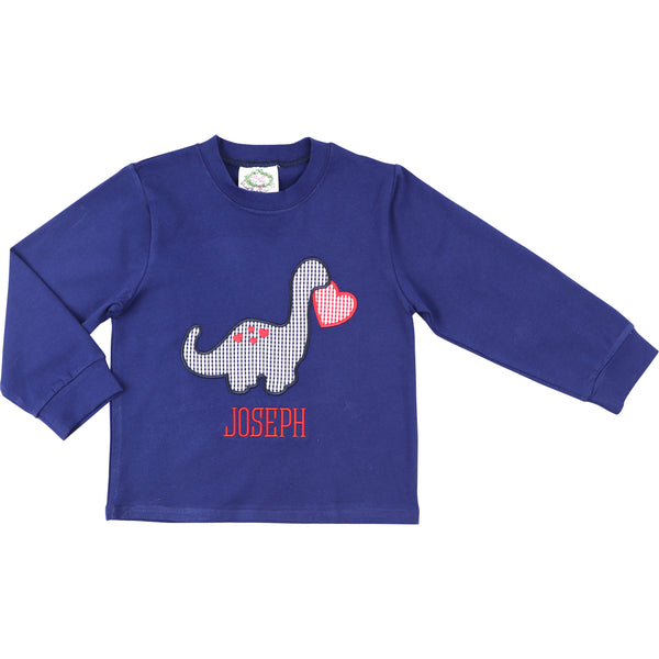 Navy Dinosaur And Heart Shirt
