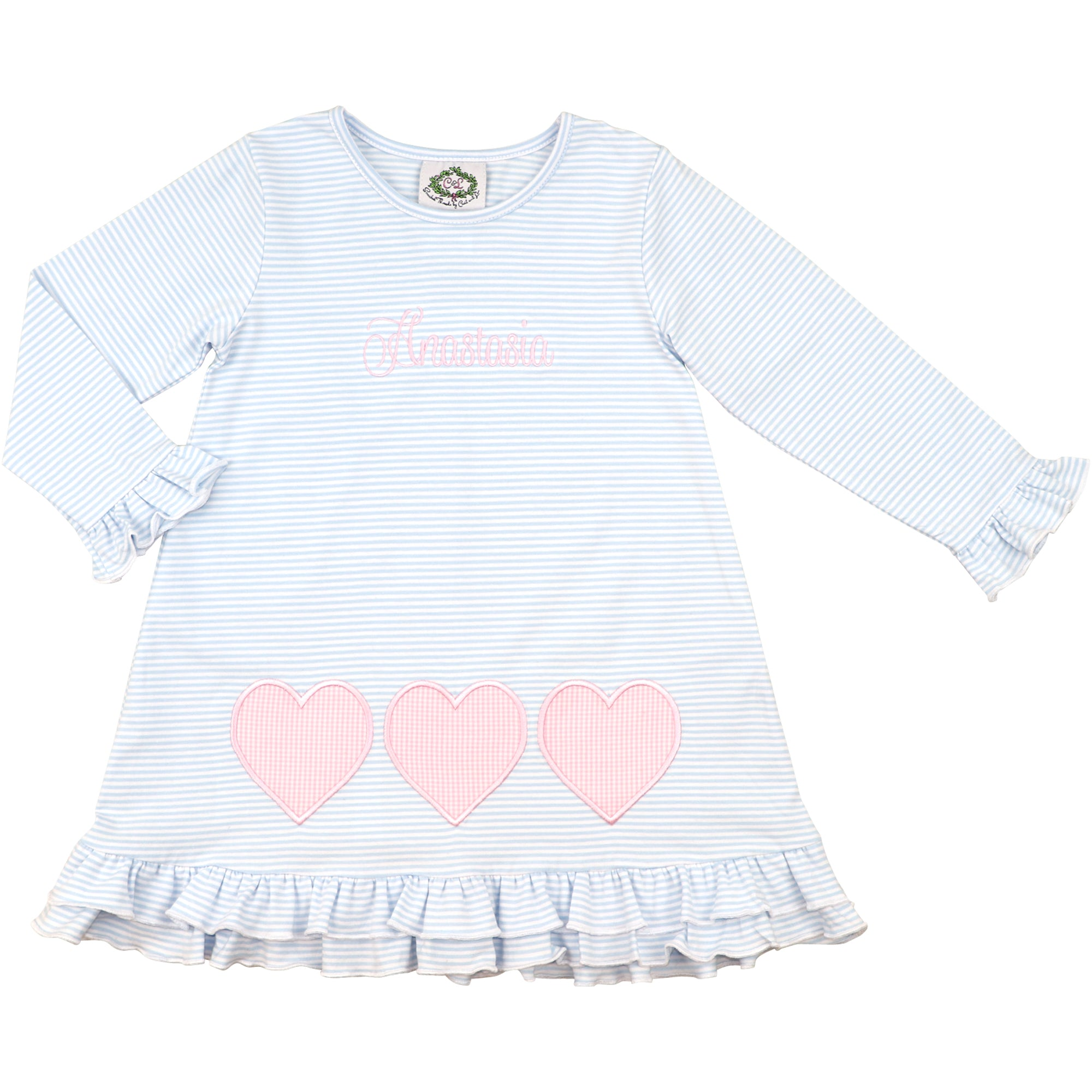 Blue Knit Stripe Applique Heart Dress