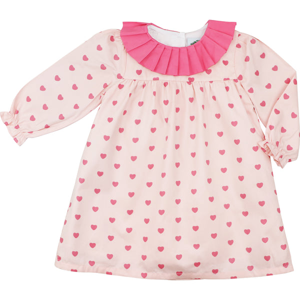 Pink Printed Hearts Ruffle Collar Dress