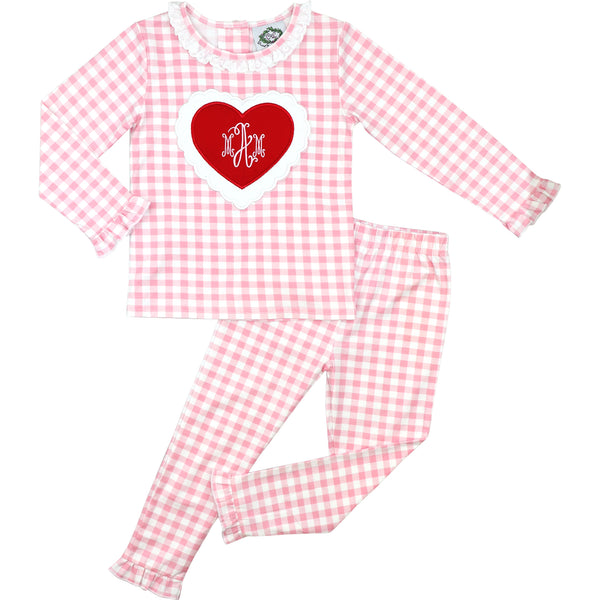 Pink Check Knit Scalloped Heart Pajamas