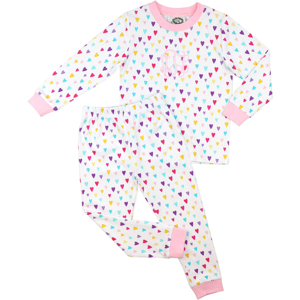 Colored Hearts Printed Pajamas