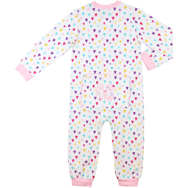 Colored Hearts Printed Zipper Pajamas