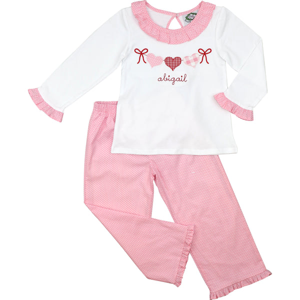 Pink Dot Hearts On Ribbon Pant Set