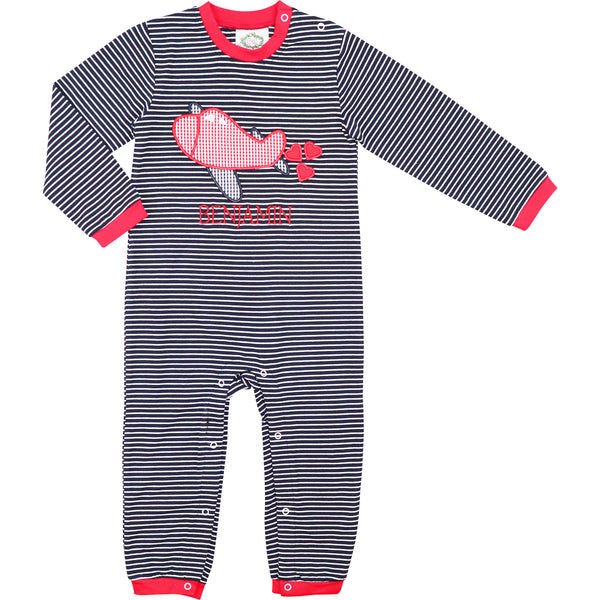 Navy Stripe Knit Airplane And Hearts Long Romper