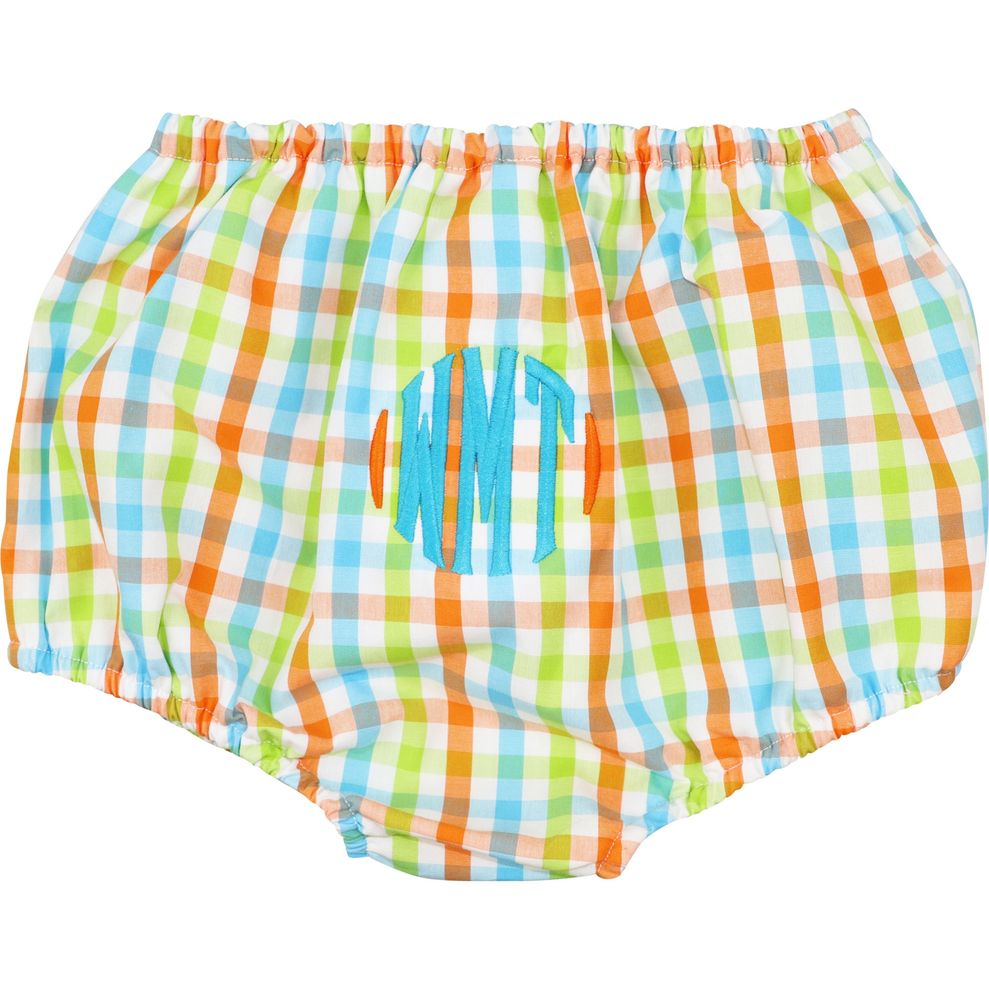 Orange and Turquoise Check Swim Bloomer