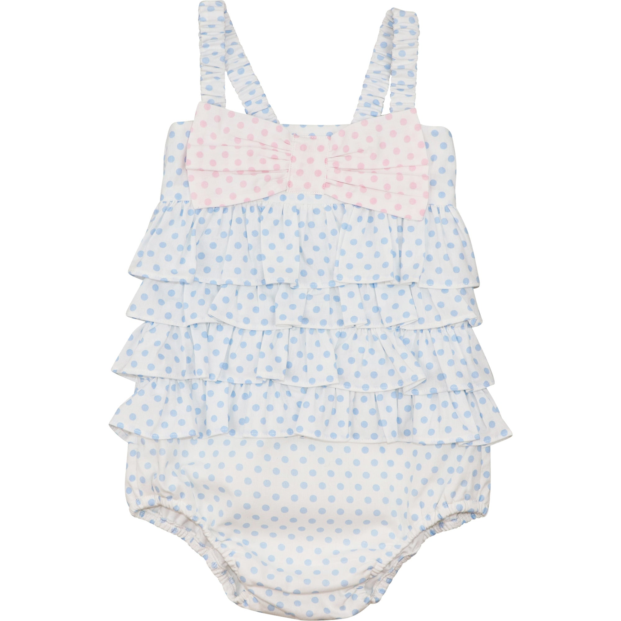 Blue and Pink Dot Ruffle Swimsuit