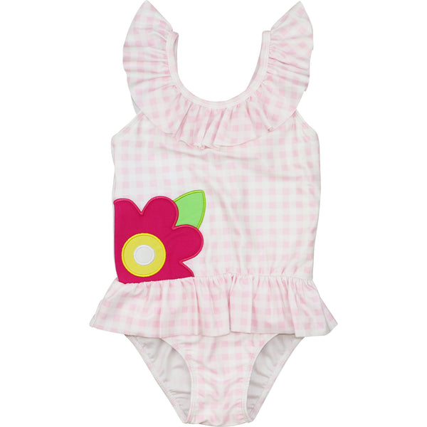 Pink Check Flower Swimsuit