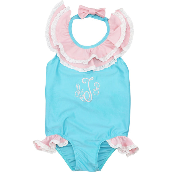 Turquoise and Pink Eyelet Swimsuit