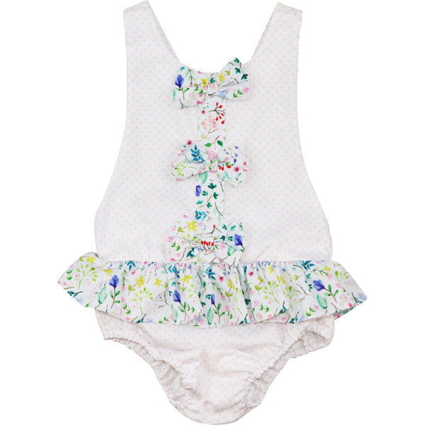 Pink Dot Pique and Floral Bow Swimsuit