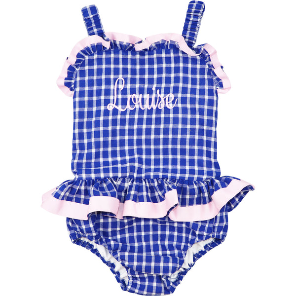Navy Seersucker Windowpane Swimsuit