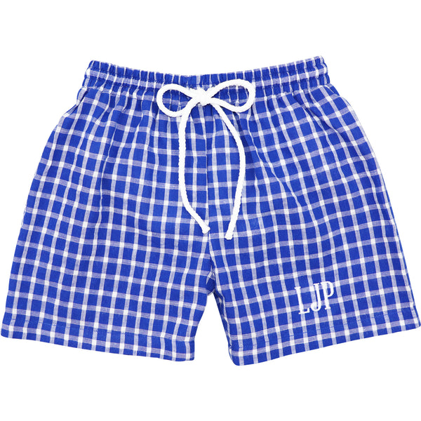 Navy Seersucker Windowpane Trunks
