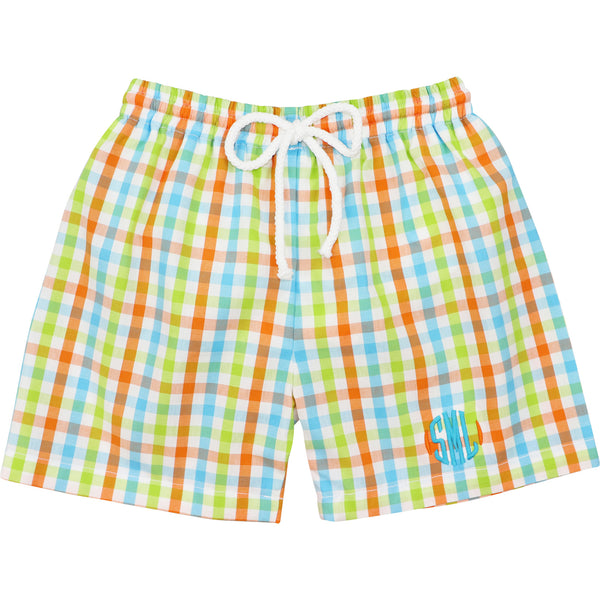 Orange and Turquoise Check Trunks
