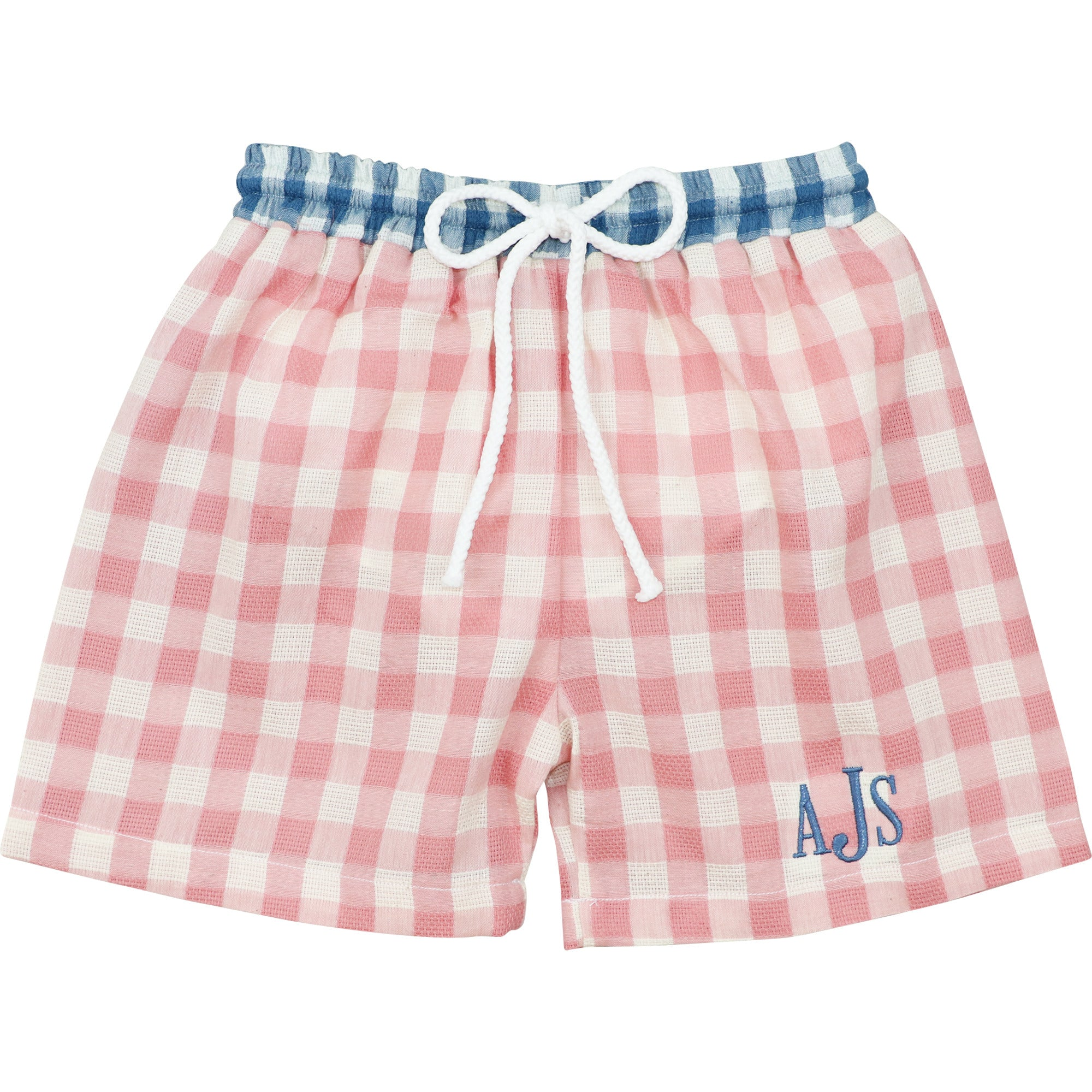Pink and Blue Check Linen Trunks