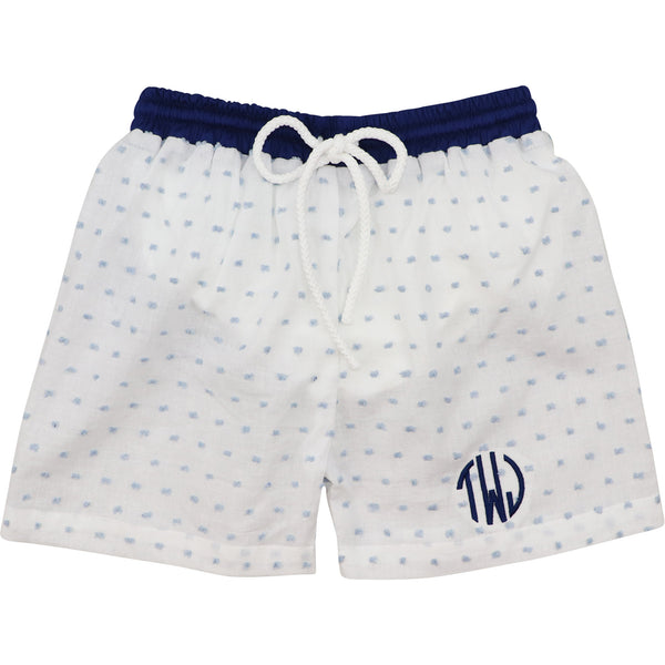 Blue Swiss Dot and Navy Trunks