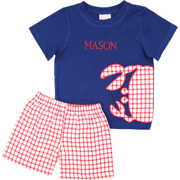 Red Windowpane And Navy Applique Crab Short Set