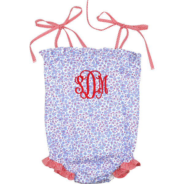 Blue Liberty And Red Gingham Swimsuit