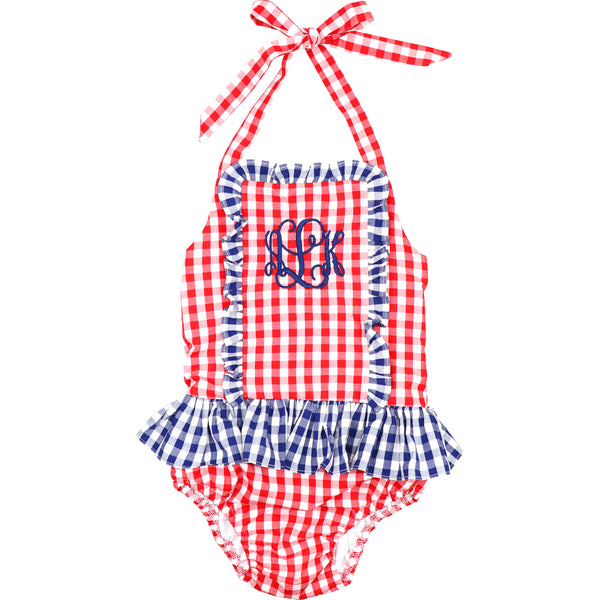 Red And Navy Check Ruffle Swimsuit