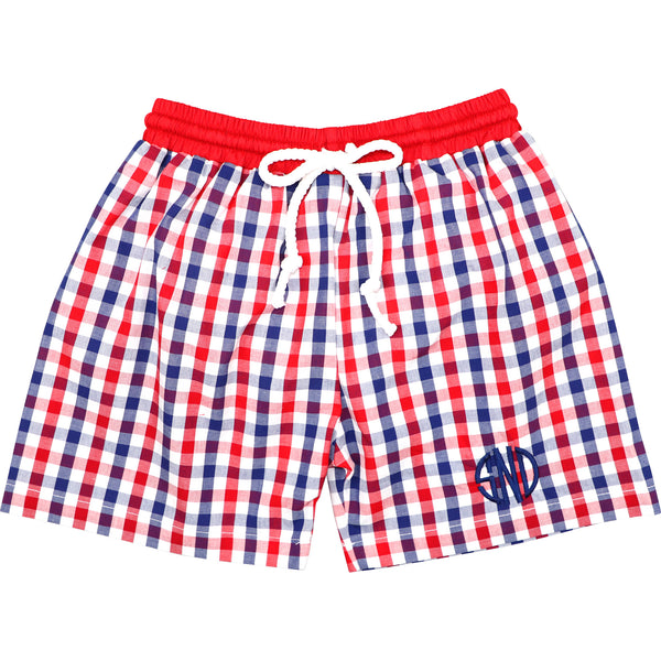 Navy And Red Check Swim Trunks