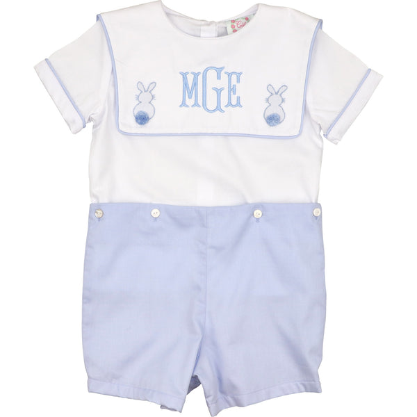 Blue and White Pique Bunny Button-On Suit