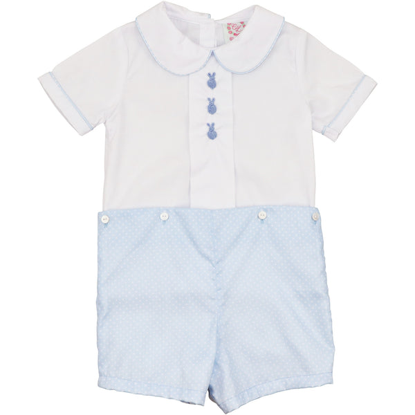 Blue Dot Embroidered Bunny Button-On Suit