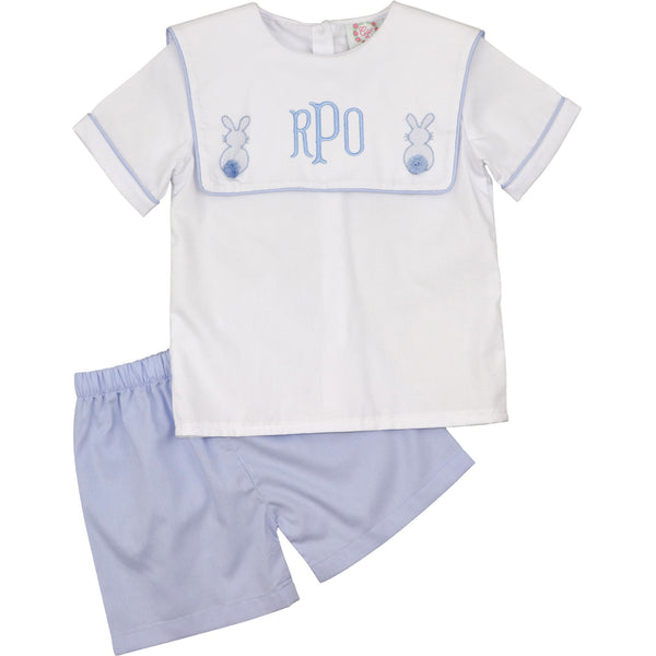 Blue and White Pique Bunny Short Set