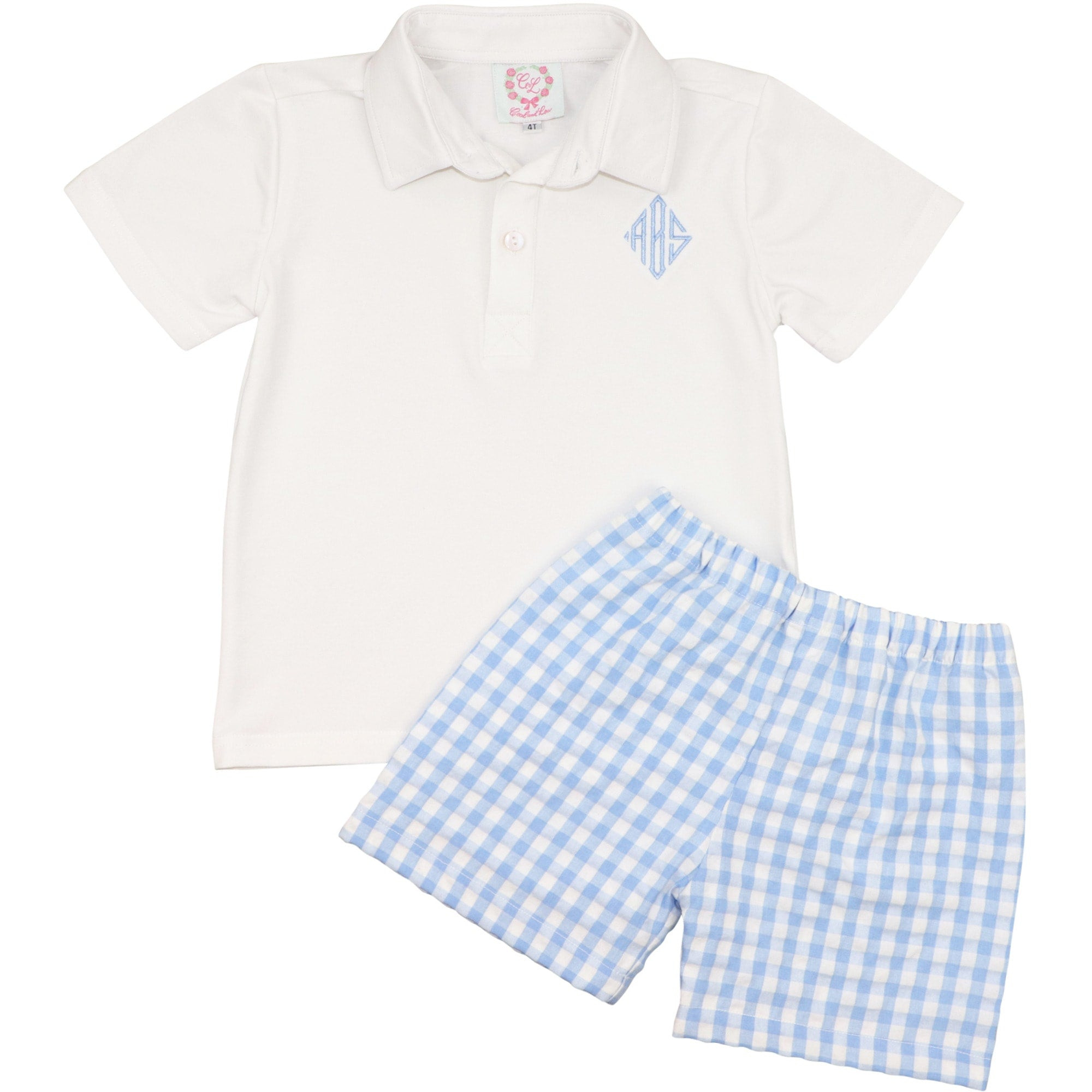 Blue Check Polo Short Set