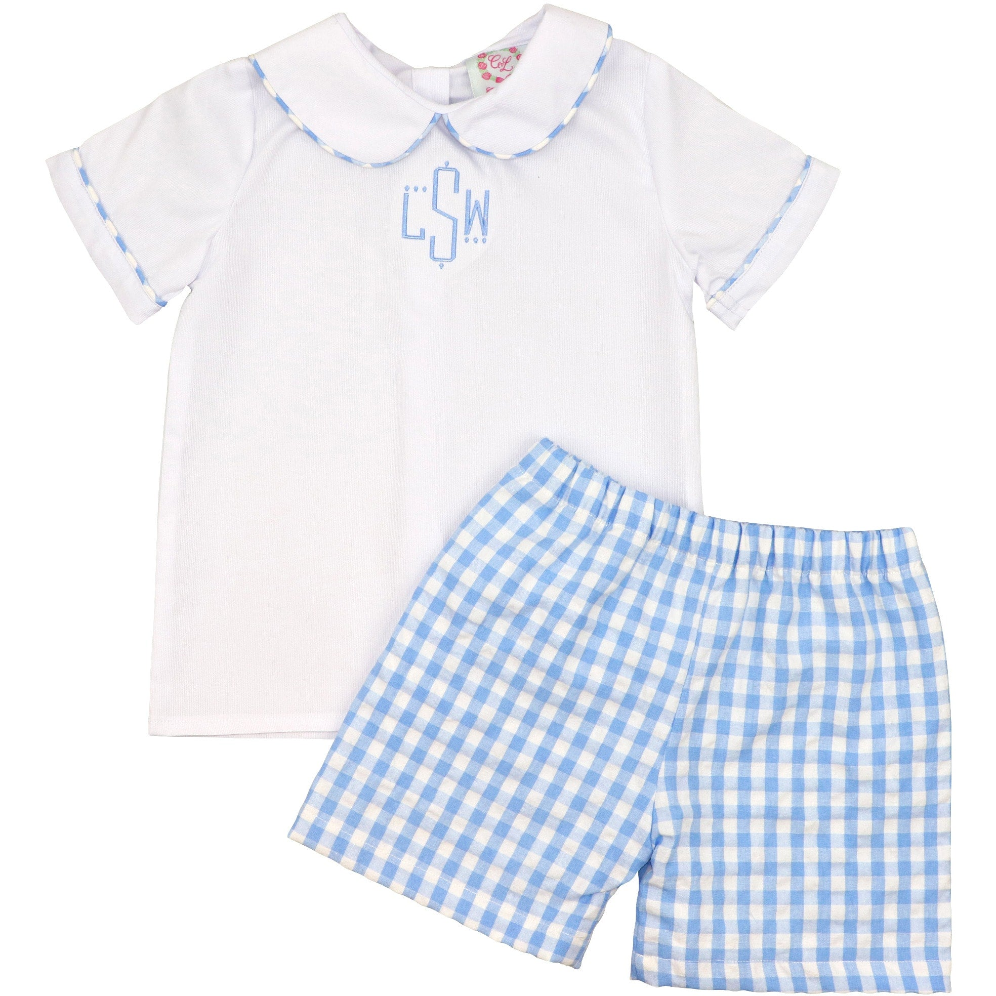 Blue Check Peter Pan Collar Short Set