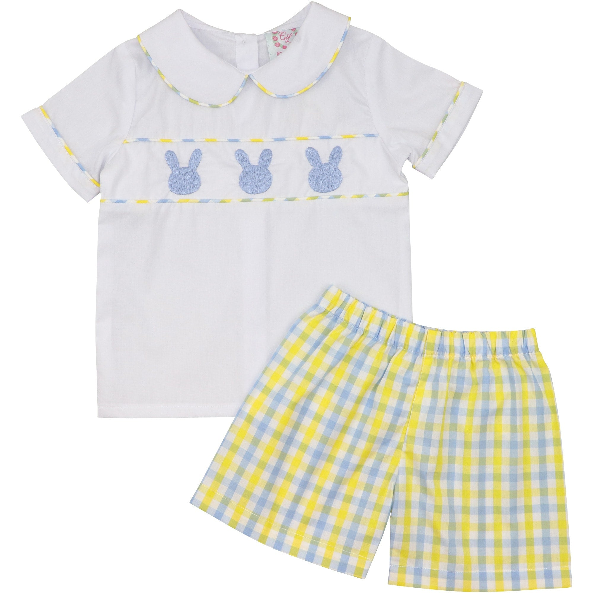 Yellow and Blue Check Bunny Short Set