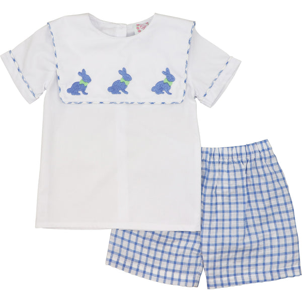 Blue Check Square Collar Bunny Short Set