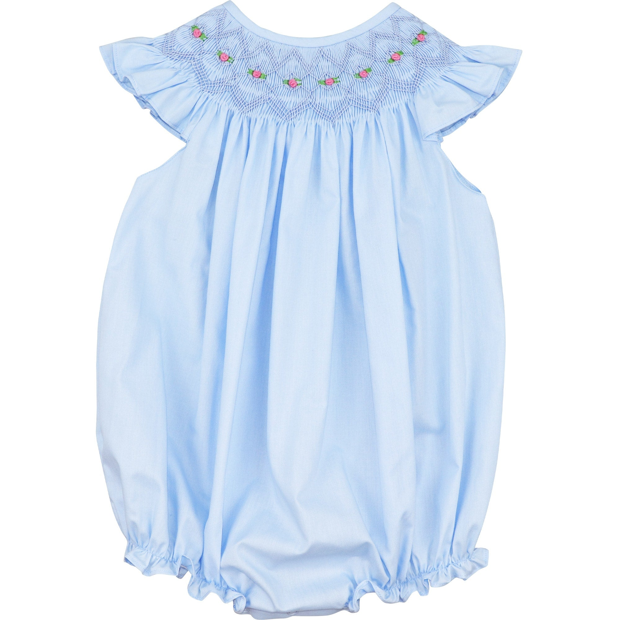 Blue Geometric Smocked Bubble