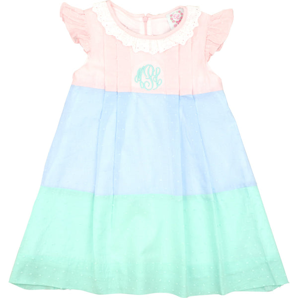 Pastel Swiss Colorblock Dress