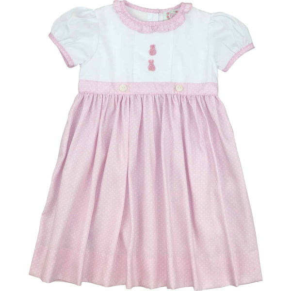 Pink Dot Embroidered Bunny Dress