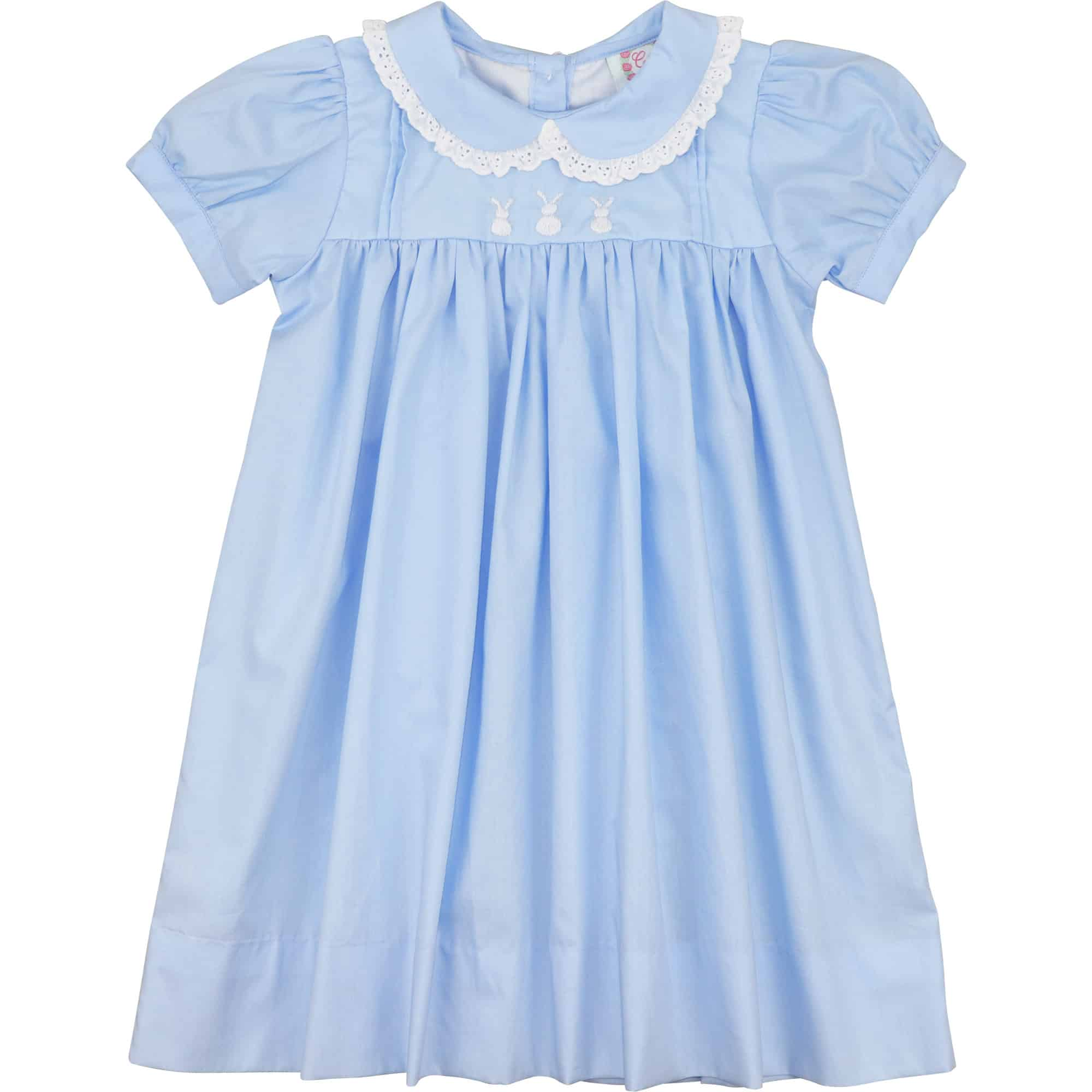 Blue Embroidered Bunny Dress