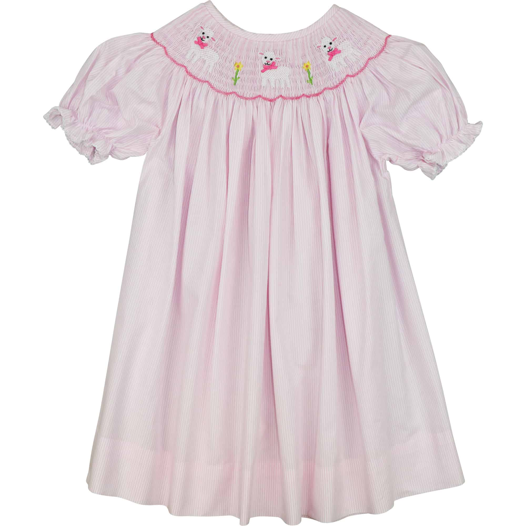 Pink Mini Stripe Smocked Lamb Dress