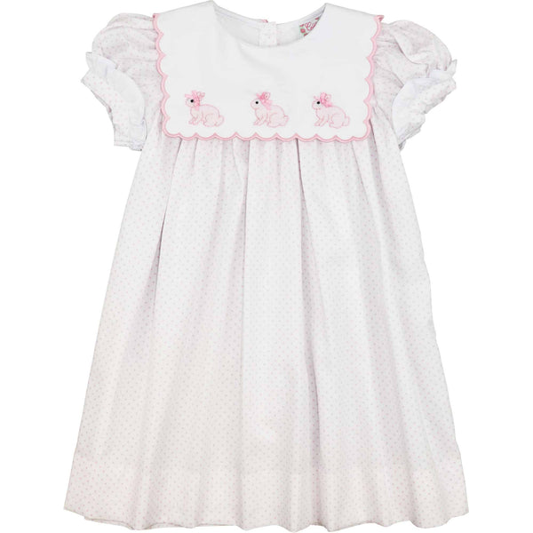 Pink Dot Pique Scalloped Collar Bunny Dress