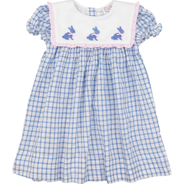 Blue Check Square Collar Bunny Dress
