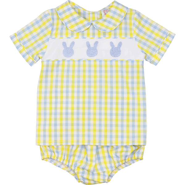 Yellow and Blue Check Bunny Diaper Set