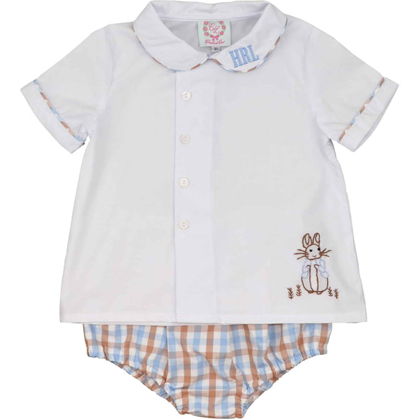 Blue and Brown Check Bunny Diaper Set