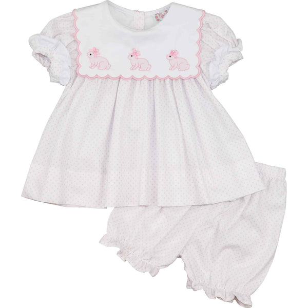 Pink Dot Pique Scalloped Collar Bunny Bloomer Set