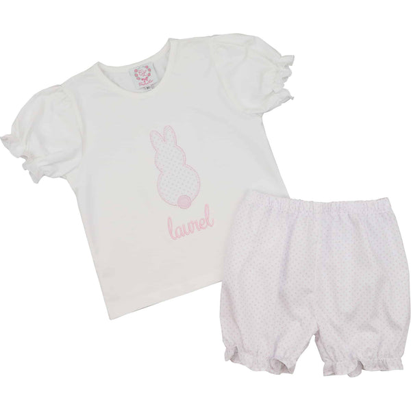Pink Dot Applique Bunny Bloomer Set