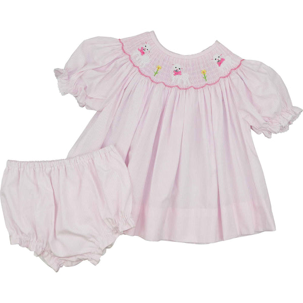 Pink Mini Stripe Smocked Lamb Diaper Set