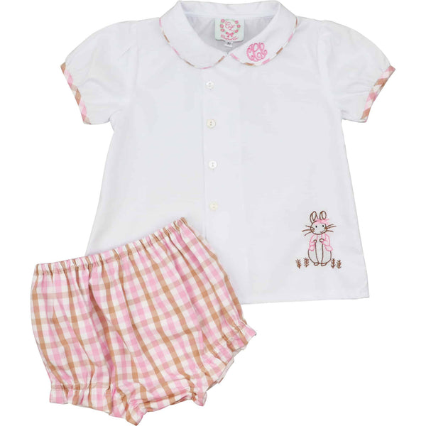 Pink and Brown Check Bunny Diaper Set