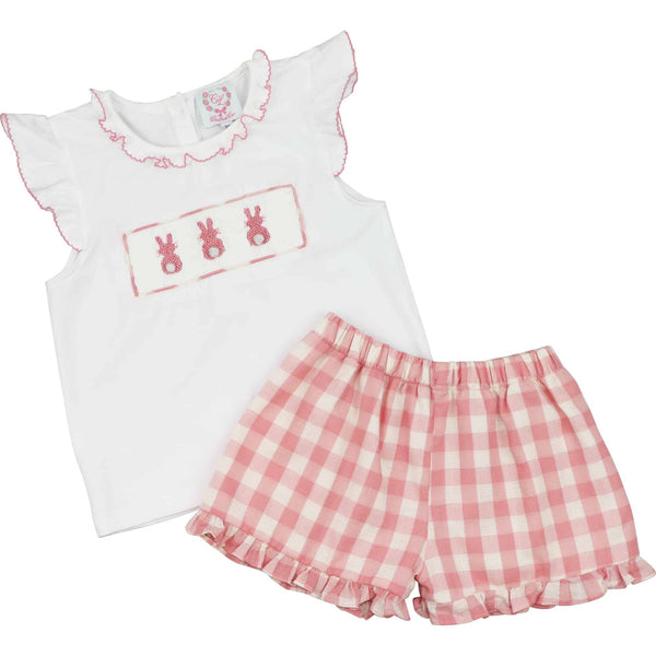 Pink Check Smocked Bunny Short Set