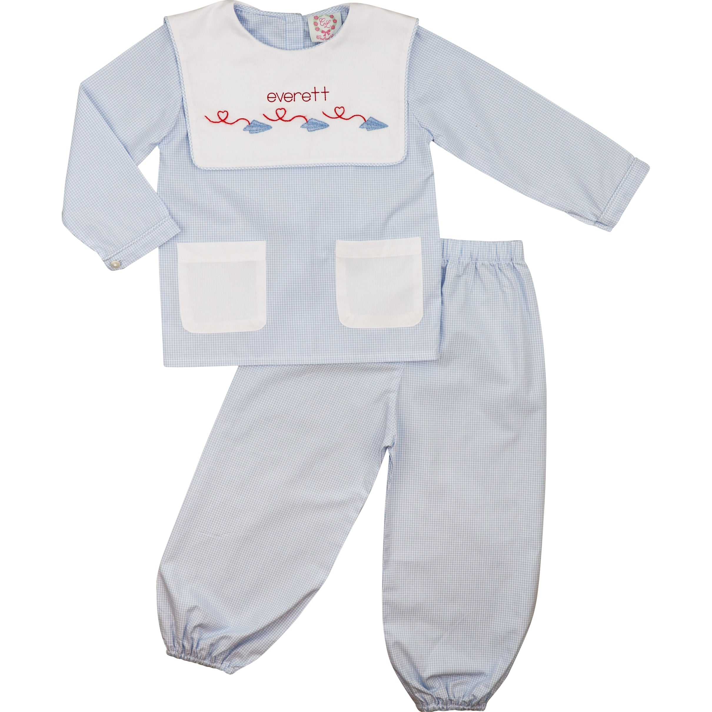 Blue Gingham Paper Airplane Pocket Pant Set