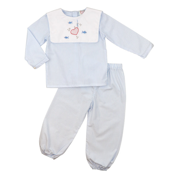 Blue Mini Stripe Fishing Heart Pant Set