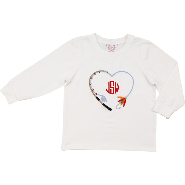 White Knit Heart Fishing Pole Shirt