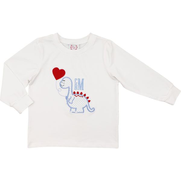 White Knit Dinosaur and Heart Shirt