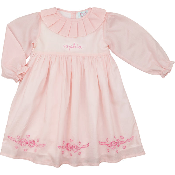 Pink Cotton Pleated Collar Bow Dress